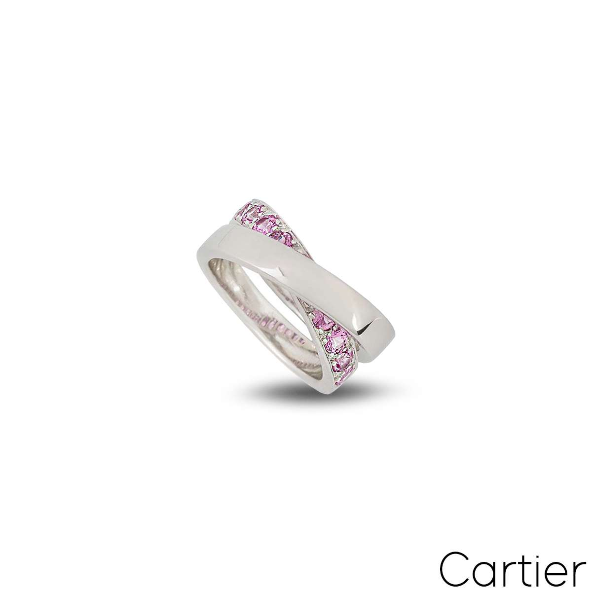 Cartier 18k White Gold Paris Nouvelle Vague Pink Sapphire Ring Size 49